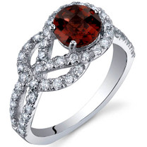 Gracefully Exquisite 1.00 Carats Garnet Sterling Silver Ring in Sizes 5 to 9 Style SR10028