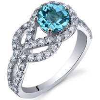 Gracefully Exquisite 1.00 Carats Swiss Blue Topaz Sterling Silver Ring in Sizes 5 to 9 Style SR10032