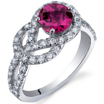 Gracefully Exquisite 1.00 Carats Ruby Sterling Silver Ring in Sizes 5 to 9 Style SR10036
