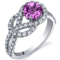 Gracefully Exquisite 1.00 Carats Pink Sapphire Sterling Silver Ring in Sizes 5 to 9 Style SR10038
