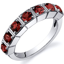 7 Stone 1.75 Carats Garnet Band Sterling Silver Ring in Sizes 5 to 9 Style SR10086