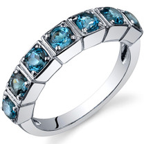 7 Stone 1.75 Carats London Blue Topaz Band Sterling Silver Ring in Sizes 5 to 9 Style SR10090