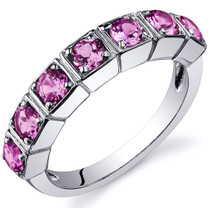 7 Stone 1.75 Carats Pink Sapphire Band Sterling Silver Ring in Sizes 5 to 9 Style SR10096