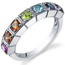 7 Stone Rainbow 1.75 Carats Multi Band Sterling Silver Ring in Sizes 5 to 9 Style SR10100