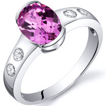 Elegant 1.75 carats Pink Sapphire Half Bezel Solitaire Sterling Silver Ring in Size 5 to 9 Style SR10116