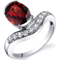 Channel Set 2.25 carats Garnet Diamond CZ Sterling Silver Ring in Sizes 5 to 9 Style SR10122
