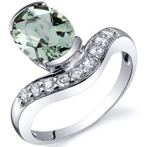 Channel Set 1.75 carats Green Amethyst Diamond CZ Sterling Silver Ring in Size 5 to 9 Style SR10124