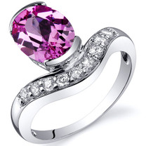Channel Set 2.50 carats Pink Sapphire Diamond CZ Sterling Silver Ring in Size 5 to 9 Style SR10134
