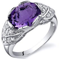 Classy Brilliance 2.25 carats Amethyst Cocktail Sterling Silver Ring in Sizes 5 to 9 Style SR10138