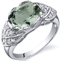 Classy Brilliance 2.25 carats Green Amethyst Cocktail Sterling Silver Ring in Size 5 to 9 Style SR10142