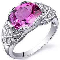 Classy Brilliance 3.50 carats Pink Sapphire Cocktail Sterling Silver Ring in Size 5 to 9 Style SR10150