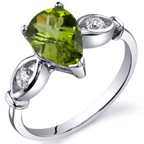 3 Stone 1.25 carats Peridot Sterling Silver Ring in Sizes 5 to 9 Style SR10158