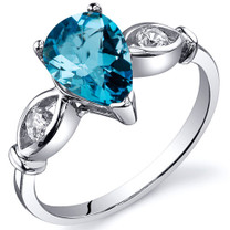 3 Stone 1.25 carats Swiss Blue Topaz Sterling Silver Ring in Sizes 5 to 9 Style SR10160