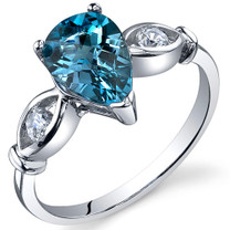 3 Stone 1.50 carats London Blue Topaz Sterling Silver Ring in Sizes 5 to 9 Style SR10162