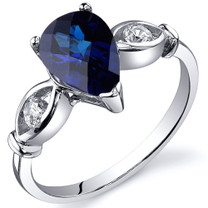 3 Stone 1.75 carats Blue Sapphire Sterling Silver Ring in Sizes 5 to 9 Style SR10166