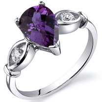 3 Stone 1.75 carats Alexandrite Sterling Silver Ring in Sizes 5 to 9 Style SR10170