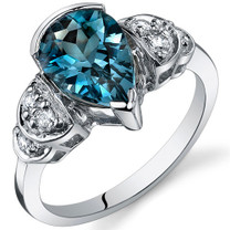 Tear Drop 2.00 carats London Blue Topaz Solitaire Sterling Silver Ring in Size 5 to 9 Style SR10180