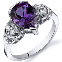 Tear Drop 2.50 carats Alexandrite Solitaire Engagement Sterling Silver Ring in Size 5 to 9 Style SR10188