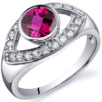 Captivating Curves 1.00 carats Ruby Sterling Silver Ring in Sizes 5 to 9 Style SR10200