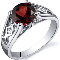 Cathedral Design 1.50 carats Garnet Solitaire Sterling Silver Ring in Sizes 5 to 9 Style SR10210