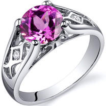 Cathedral Design 2.00 carats Pink Sapphire Solitaire Sterling Silver Ring in Size 5 to 9 Style SR10222