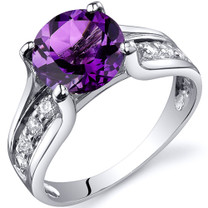 Solitaire Style 1.75 carats Amethyst Sterling Silver Ring in Sizes 5 to 9 Style SR10226