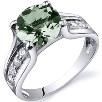 Solitaire Style 1.75 carats Green Amethyst Sterling Silver Ring in Sizes 5 to 9 Style SR10230