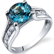 Solitaire Style 2.25 carats London Blue Topaz Sterling Silver Ring in Sizes 5 to 9 Style SR10234