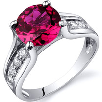 Solitaire Style 2.50 carats Ruby Sterling Silver Ring in Sizes 5 to 9 Style SR10236