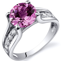 Solitaire Style 2.75 carats Pink Sapphire Sterling Silver Ring in Sizes 5 to 9 Style SR10240