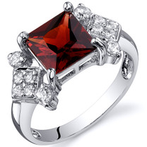 Princess Cut 2.00 carats Garnet Cubic Zirconia Sterling Silver Ring in Sizes 5 to 9 Style SR10246
