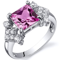 Princess Cut 2.25 carats Pink Sapphire Cubic Zirconia Sterling Silver Ring in Sizes 5 to 9 Style SR10258