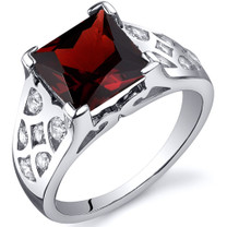V Prong Princess Cut 3.00 carats Garnet Cubic Zirconia Sterling Silver Ring in Sizes 5 to 9 Style SR10264