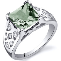 V Prong Princess Cut 2.00 carats Green Amethyst Sterling Silver Ring in Sizes 5 to 9 Style SR10266