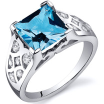 V Prong Princess Cut 2.75 carats Swiss Blue Topaz Sterling Silver Ring in Sizes 5 to 9 Style SR10268