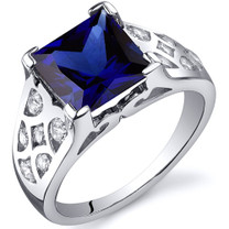V Prong Princess Cut 3.50 carats Blue Sapphire Sterling Silver Ring in Sizes 5 to 9 Style SR10274