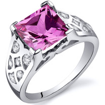 V Prong Princess Cut 3.25 carats Pink Sapphire Sterling Silver Ring in Sizes 5 to 9 Style SR10276