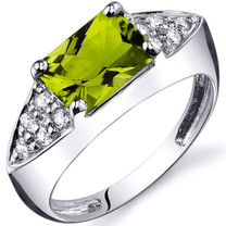 Sleek Sophistication 1.50 carats Peridot Cubic Zirconia Sterling Silver Ring in Sizes 5 to 9 Style SR10284