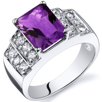Radiant Cut 2.00 carats Amethyst Cubic Zirconia Sterling Silver Ring in Sizes 5 to 9 Style SR10298