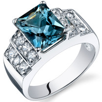Radiant Cut 2.50 carats London Blue Topaz Cubic Zirconia Sterling Silver Ring in Sizes 5 to 9 Style SR10306
