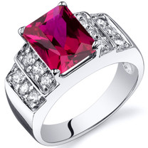 Radiant Cut 3.00 carats Ruby Sterling Silver Ring in Sizes 5 to 9 Style SR10308