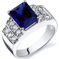 Radiant Cut 3.00 carats Blue Sapphire Cubic Zirconia Sterling Silver Ring in Sizes 5 to 9 Style SR10310