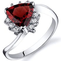 Trillion Cut 1.50 carats Garnet Bypass Sterling Silver Ring in Sizes 5 to 9 Style SR10318