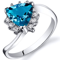 Trillion Cut 1.25 carats Swiss Blue Topaz Bypass Sterling Silver Ring in Sizes 5 to 9 Style SR10322