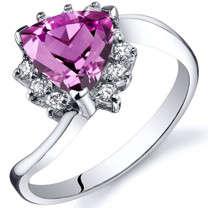Trillion Cut 1.75 carats Pink Sapphire Bypass Sterling Silver Ring in Sizes 5 to 9 Style SR10330