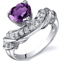 Heart Shape 1.00 carats Amethyst Cubic Zirconia Sterling Silver Ring in Sizes 5 to 9 Style SR10352