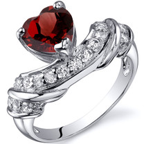 Heart Shape 1.50 carats Garnet Cubic Zirconia Sterling Silver Ring in Sizes 5 to 9 Style SR10354
