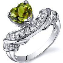 Heart Shape 1.25 carats Peridot Sterling Silver Ring in Sizes 5 to 9 Style SR10356