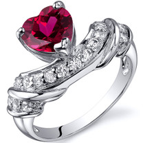 Heart Shape 1.75 carats Ruby Cubic Zirconia Sterling Silver Ring in Sizes 5 to 9 Style SR10362