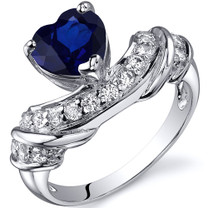 Heart Shape 2.00 carats Blue Sapphire Cubic Zirconia Sterling Silver Ring in Sizes 5 to 9 Style SR10364